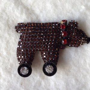 Vintage Dorothy Bauer crystal bear pin